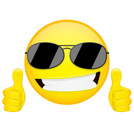 grinning: Good idea emoji. Thumbs up emotion. Cool guy with sunglasses emoticon. Vector illustration smile icon.