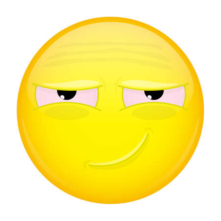 diseased: Tired smiling emoji. Weary emotion. Tired grin emoticon. Vector illustration smile icon.