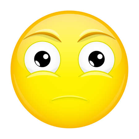 miserable: Sad emoji. Bore emotion. Hurt emoticon. Vector illustration smile icon.