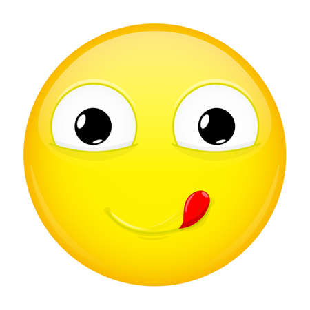 lust: Lick lips emoji. Good emotion. Yummy emoticon. Vector illustration smile icon.