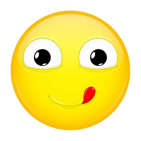 yummy: Lick lips emoji. Good emotion. Yummy emoticon. Vector illustration smile icon.