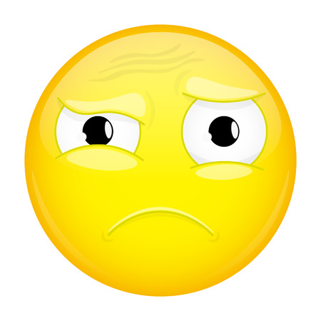 puzzled: What emoji. Do not understand emotion. Puzzled emoticon. Vector illustration smile icon.
