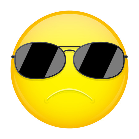 steadfast: Serious emoji. Strong emotion. FBI agent emoticon. Vector illustration smile icon.