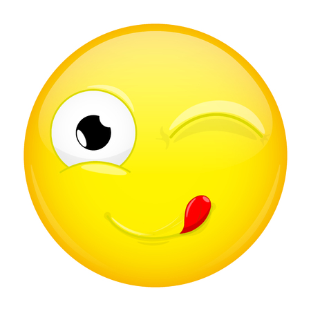 Lick lips emoji. Wink emotion. Yummy emoticon. Vector illustration smile icon.
