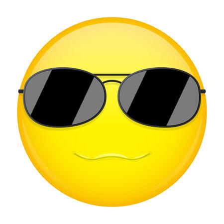 cool guy: Sweet smile emoji. Smirk emotion. Cool guy with sunglasses emoticon. Vector illustration smile icon.