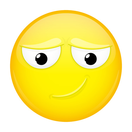modest: Uncertainly smiling emoji. Doubt emotion. Timid emoticon. Vector illustration smile icon.