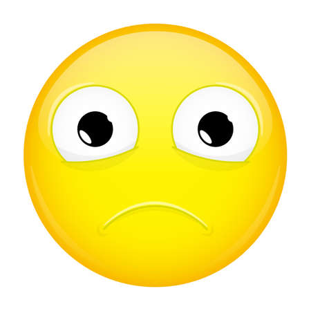 chagrin: Sad emoji. Bad emotion. Hurt emoticon. Vector illustration smile icon.