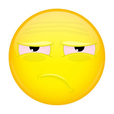 lamentable: Tired emoji. Bad emotion. Unhappy emoticon. Vector illustration smile icon. Illustration