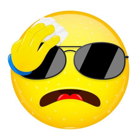 cartoon work: Emoji wipes the sweat with a handkerchief. Hard work, heat, workout emotion. Perspire emoticon. Vector illustration smile icon.