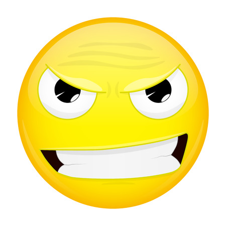 Evil emoji. Bad emotion. Wicked emoticon. Vector illustration smile icon.