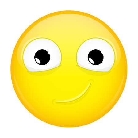 smirk: Smiling emoji. Smirk emotion. Happy emoticon. Vector illustration smile icon. Illustration