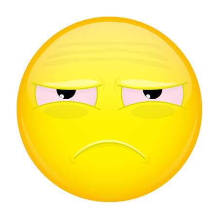unfortunate: Tired emoji. Sad emotion. Unhappy emoticon. Vector illustration smile icon. Illustration