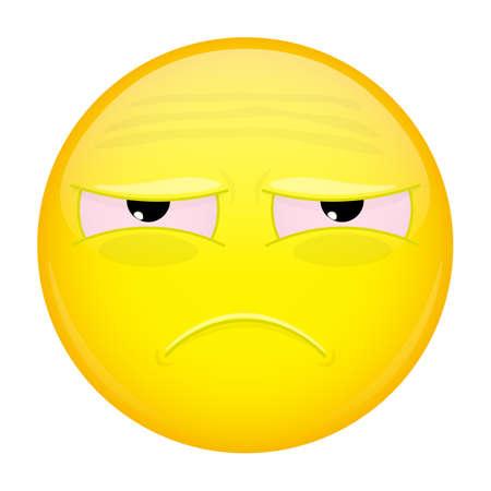 lamentable: Tired emoji. Sad emotion. Unhappy emoticon. Vector illustration smile icon. Illustration