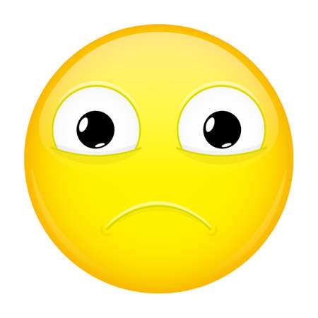 miserable: Sad emoji. Sorrow emotion. Hurt emoticon. Vector illustration smile icon. Illustration