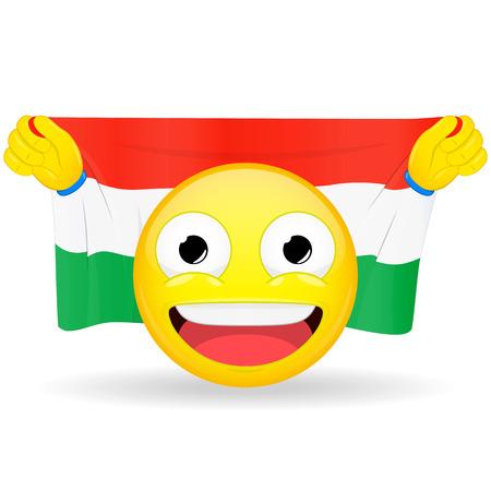 bawl: Emoji fan holds in hands flag behind his head. Hungarian flag. Fan cares for his country. Glory spectator bawl emotion. Exult emoticon. Buff of sports games smile vector illustration.