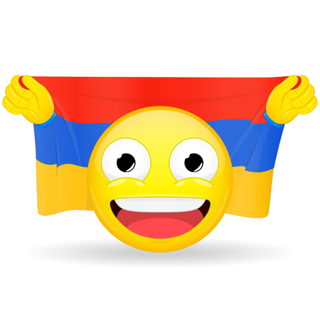 Emoji fan holds in hands flag behind his head. Armenian flag. Fan cares for his country. Glory spectator bawl emotion. Exult emoticon. Buff of sports games smile vector illustration.