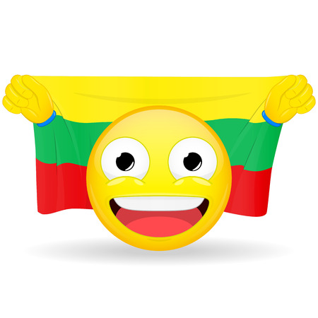 Emoji fan holds in hands flag behind his head. Lithuanian flag. Fan cares for his country. Glory spectator bawl emotion. Exult emoticon. Buff of sports games smile vector illustration.