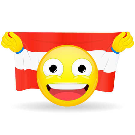 bawl: Emoji fan holds in hands flag behind his head. Austrian flag. Fan cares for his country. Glory spectator bawl emotion. Exult emoticon. Buff of sports games smile vector illustration. Illustration