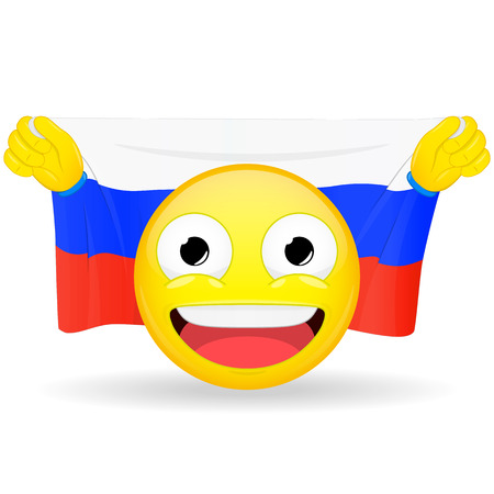 buff: Emoji fan holds in hands flag behind his head. Russian flag. Fan cares for his country. Glory spectator bawl emotion. Exult emoticon. Buff of sports games smile vector illustration.