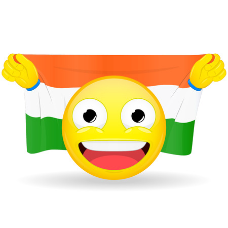 Emoji fan holds in hands flag behind his head. Indian flag. Fan cares for his country. Glory spectator bawl emotion. Exult emoticon. Buff of sports games smile vector illustration. Illustration