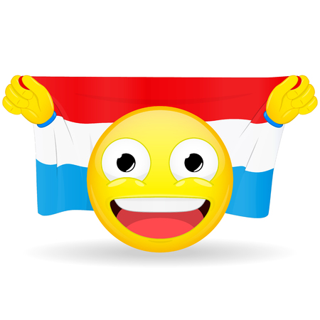 buff: Emoji fan holds in hands flag behind his head. Luxembourg flag. Fan cares for his country. Glory spectator bawl emotion. Exult emoticon. Buff of sports games smile vector illustration.