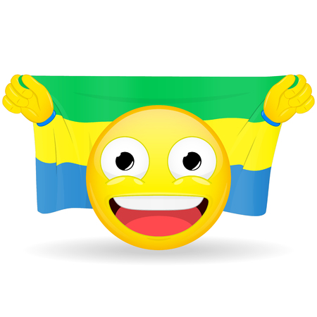 buff: Emoji fan holds in hands flag behind his head. Gabonese flag. Fan cares for his country. Glory spectator bawl emotion. Exult emoticon. Buff of sports games smile vector illustration.