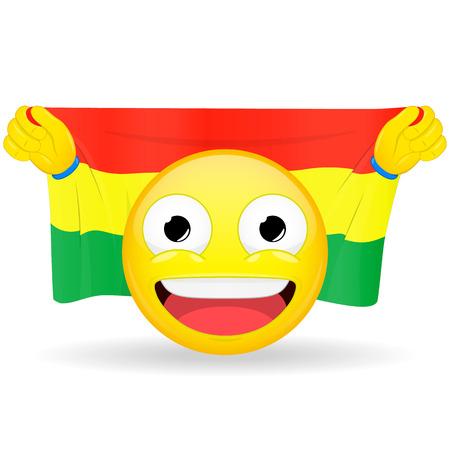 bawl: Emoji fan holds in hands flag behind his head. Bolivian flag. Fan cares for his country. Glory spectator bawl emotion. Exult emoticon. Buff of sports games smile vector illustration.