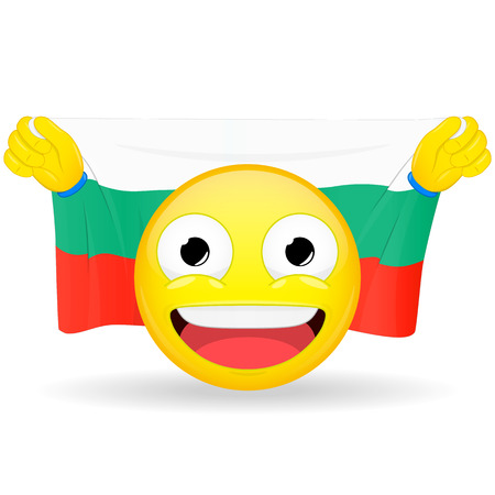 Emoji fan holds in hands flag behind his head. Bulgarian flag. Fan cares for his country. Glory spectator bawl emotion. Exult emoticon. Buff of sports games smile vector illustration. Stock Illustratie