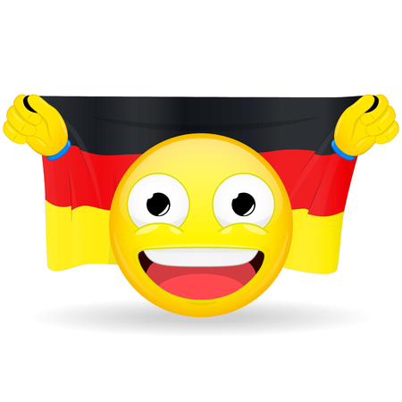Emoji fan holds in hands flag behind his head. German flag. Fan cares for his country. Glory spectator bawl emotion. Exult emoticon. Buff of sports games smile vector illustration.