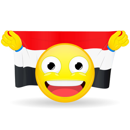 bawl: Emoji fan holds in hands flag behind his head. Egyptian, Iraqi, Yemenite flag. Fan cares for his country. Glory spectator bawl emotion. Exult emoticon. Buff of sports games smile vector illustration.