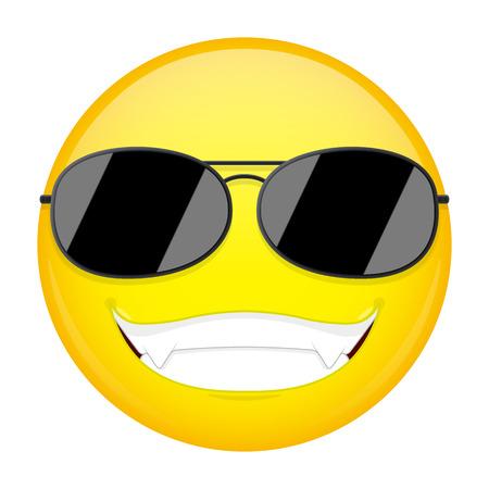 cool guy: Happy emoji. Smirk emotion. Cool guy with sunglasses emoticon. Vector illustration smile icon. Illustration