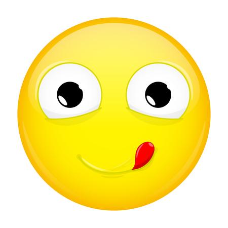 Lecken Lippen Emoji. Gute Emotion. Yummy Emoticon. Vektor-Illustration Lächeln Symbol.