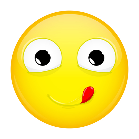 Lick lips emoji. Good emotion. Yummy emoticon. Vector illustration smile icon.