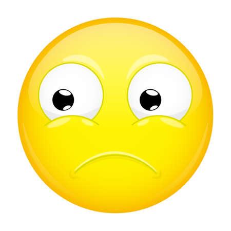 Sad emoji. Bad emotion. Hurt emoticon. Vector illustration smile icon.