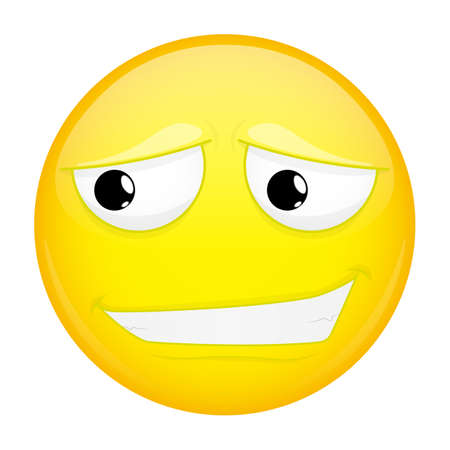 humble: Uncertainly smiling emoji. Doubt emotion. Timid emoticon. Vector illustration smile icon.