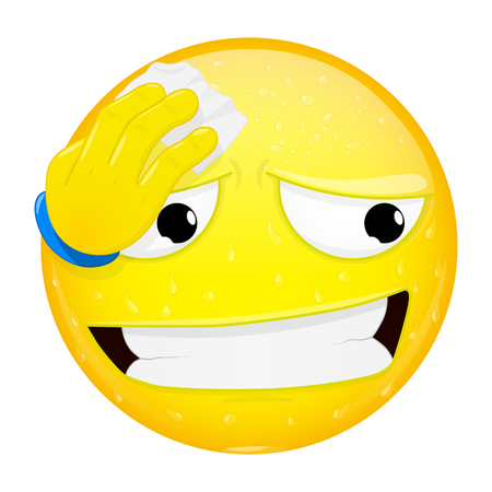 Emoji wipes the sweat with a handkerchief. Hard work, heat, phew emotion. Off the hook emoticon. Vector illustration smile icon.