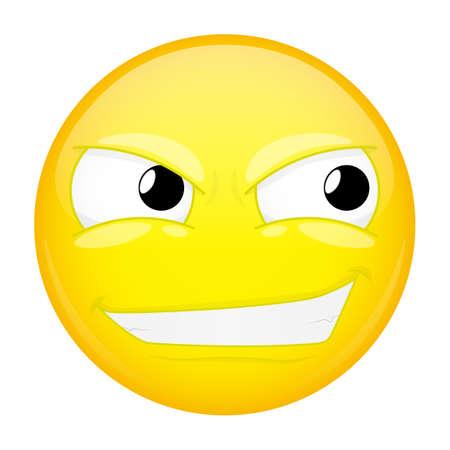 Smirk emoji. Sly emotion. Smiling emoticon. Vector illustration smile icon.