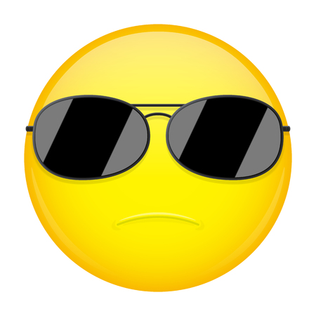 severe: Serious emoji. Strong emotion. FBI agent emoticon. Vector illustration smile icon.