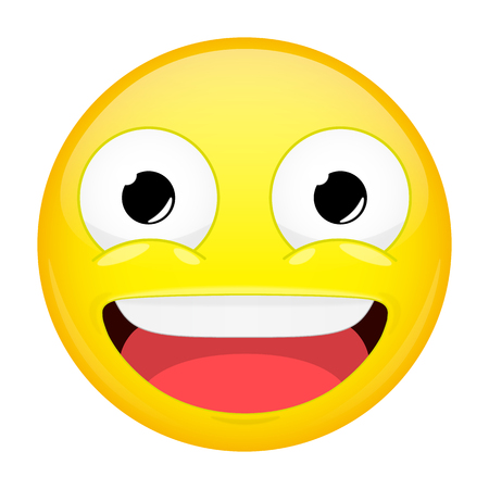 complacent: Smiling emoji. Laugh emotion. Sweet happy emoticon. Vector illustration smile icon. Illustration