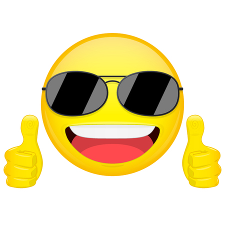 cool guy: Good idea emoji. Thumbs up emotion. Cool guy with sunglasses emoticon. Vector illustration smile icon.