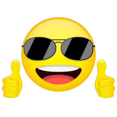 Emoji buena idea. Los pulgares suben a la emoción. Individuo fresco con las gafas de sol emoticon. ilustración vectorial icono de la sonrisa.