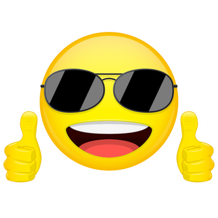 sunglasses isolated: Good idea emoji. Thumbs up emotion. Cool guy with sunglasses emoticon. Vector illustration smile icon.