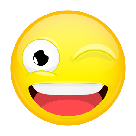 Wink emoji. Smile emotion. Twinkle grin emoticon. Vector illustration smile icon.