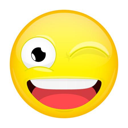 ウインクの絵文字。感情を笑顔します。きらめき笑顔絵文字。ベクトル イラスト笑顔アイコン。
