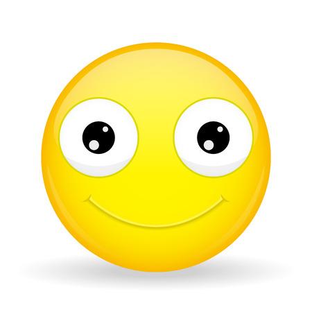 pleased: Emoticon smiles broadly. Kind emoticon. Cheerful emoticon. Pleased emoji. Happy emotion. Illustration