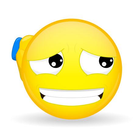 Guilty emoticon. Apologetic emoticon. Emoticon scratching his head handed. Sorry emoji. Its not my fault emotion.