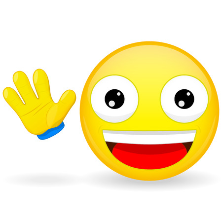 Hello emoticon. Emoticon waves his hand. Joyful emoticon. Pleased emoji. Happy emotion.