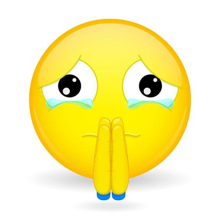 Emoticon demander pardon. Désolé emoticon.Oh s'il vous plaît émoticône. Persuader emoji. Implorer émotion. Vecteurs