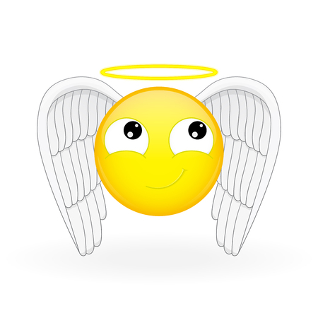guiltless: Emoticon with wings and a nimbus. Angel emoticon. Holy emoticon. Innocent emoji. Cute smiling emotion.