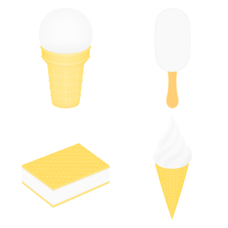 Set of white ice cream. Ice cream in a cup. Ice lolly. Ice cream between two wafers. Ice cream in a conical cup. Illustration